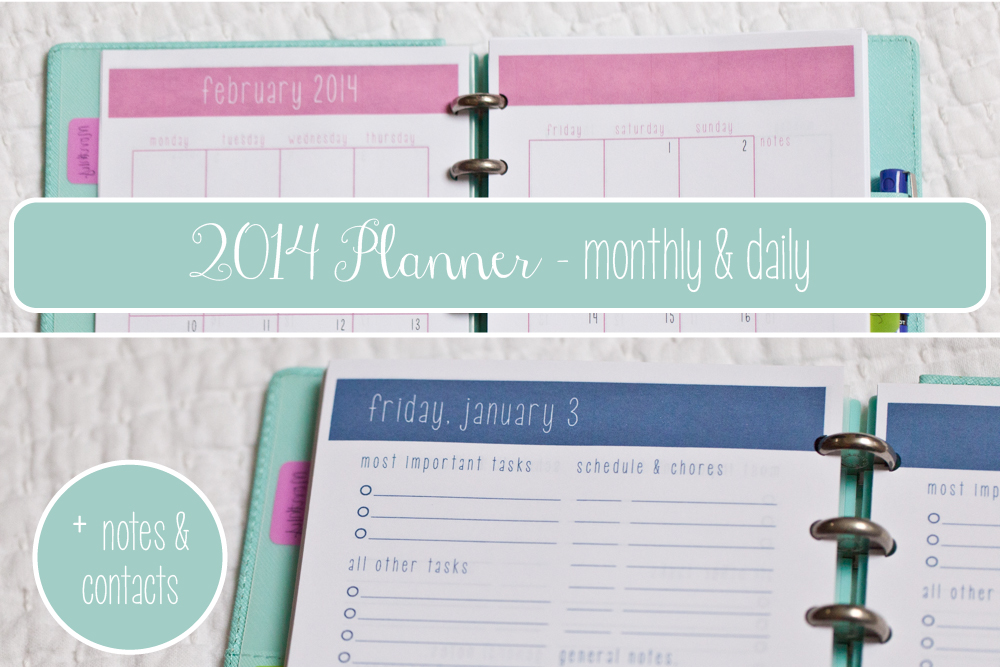 2014 planner printable monthly calendar weekly snapshot daily agenda notes contacts